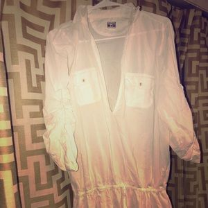 White button up swim suit cover up.